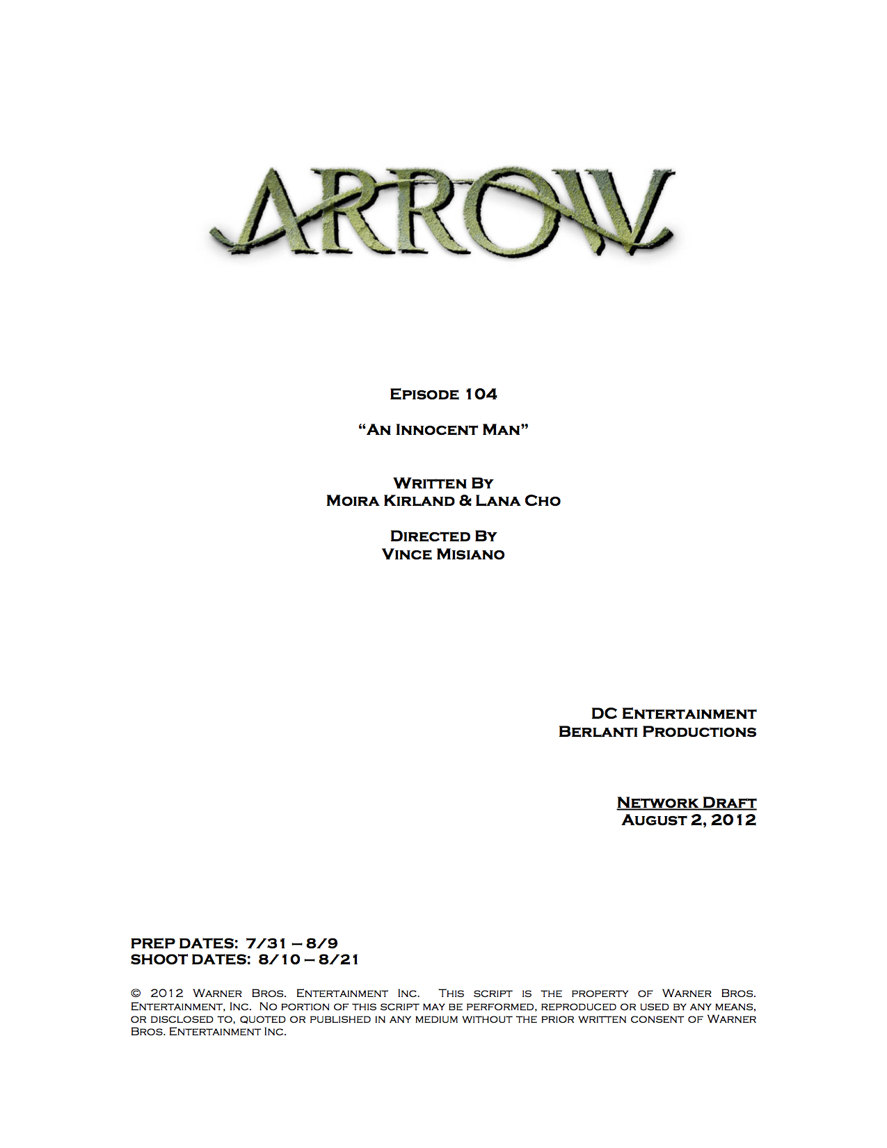 title page greenarrowtv arrow episode 4 title change cover page an innocent